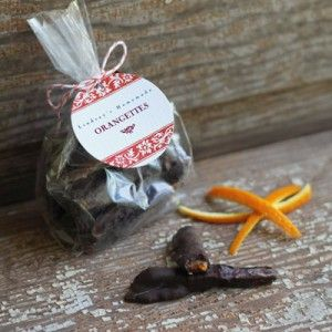 Homemade Orangettes with personalized favor tags from Evermine {www ...