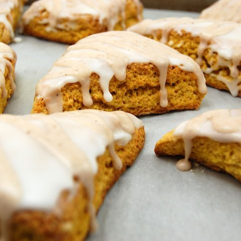 Pumpkin Scones with Spiced Glaze. One of my favorite fall recipes!