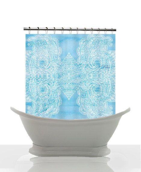 shower curtain baby blue watercolor paisley powder blue bo