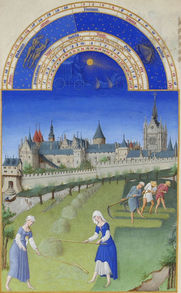 Les Très Riches Heures, June. Artists Herman, Paul, and Johan Limbourg, working for their patron, Jean, Duc de Berry create the paintings for the Très Riches Heures du Duc de Berry.