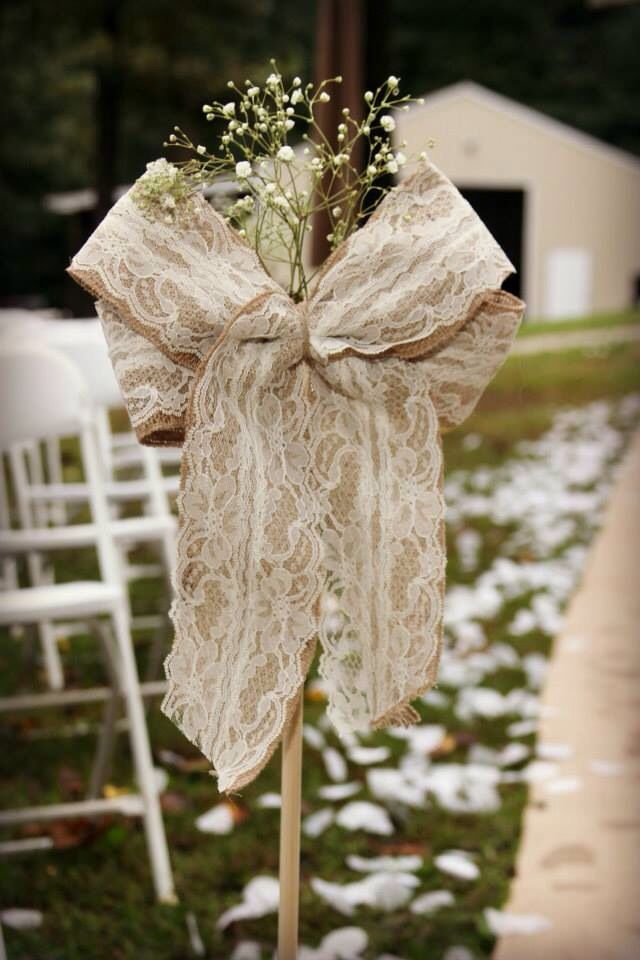 Wedding isle decor Burlap and lace