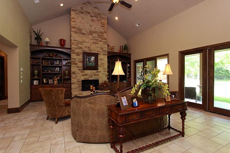 Stone Fireplace Cathedral Ceiling Living Dining Ideas