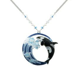 hokusai orca wave necklace orca