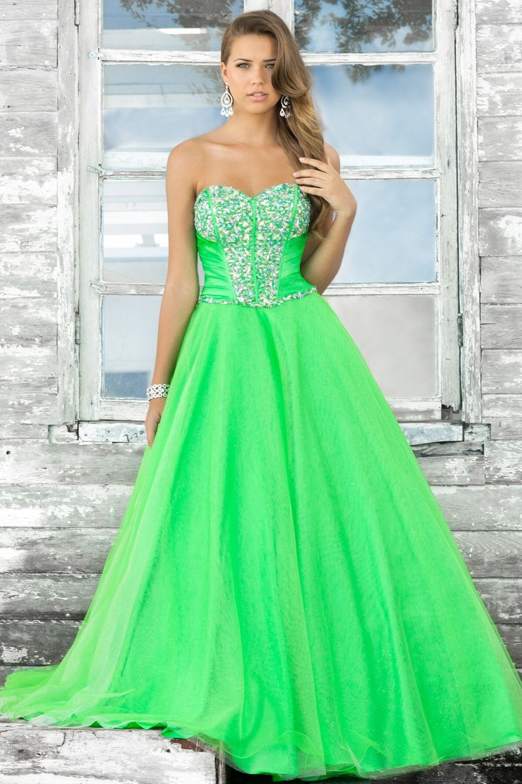Ball gown prom dresses 2014 -  Neon Green Prom Dress Neon Green Prom Dress Prom
