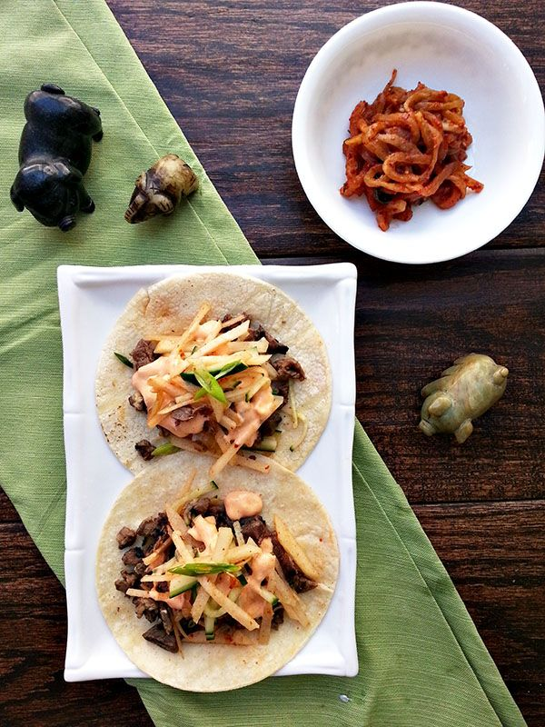 Kalbi tacos with pear kimchi slaw | Sandwiches to try | Pinterest