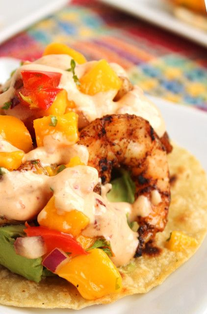 Grilled Shrimp Tostadas with Mango Salsa and Chipotle Cream | The ...