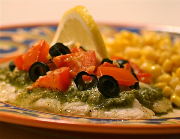 Oven roasted tilapia with tomatoes, pesto and lemon (from www.food.com ...