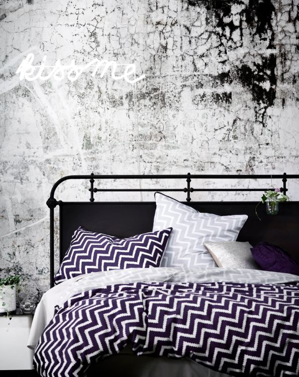 Purple chevron bedding by AURA
