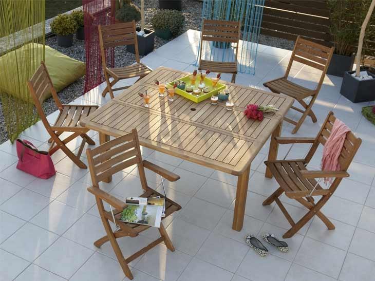 Table jardin carre metal des id es for Salon de jardin carre