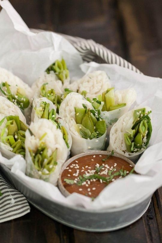 Roasted Sugar Snap Pea & Scallion Spring Rolls with Tahini Sauce | Re ...