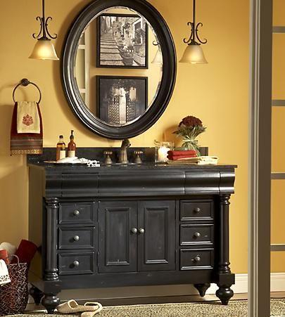Distressed Black Bathroom Vanity