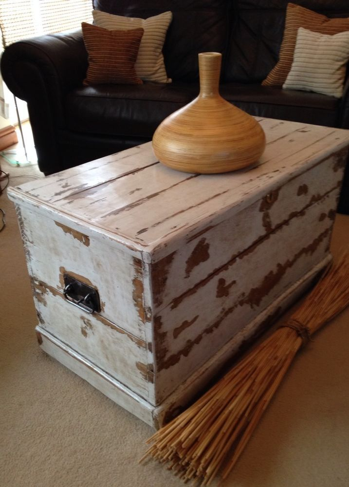antique old pine wooden sea chest trunk coffee table blanket box large