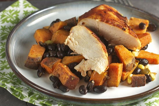 Roast Honey-Chipotle Chicken with Sweet Potatoes & Black Beans | Reci ...