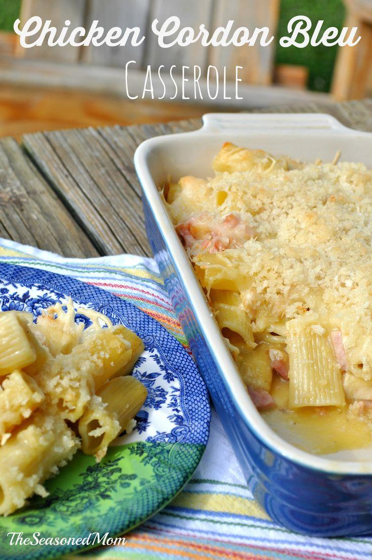 Simple Chicken Cordon Bleu Casserole: full of chicken, ham, and pasta ...
