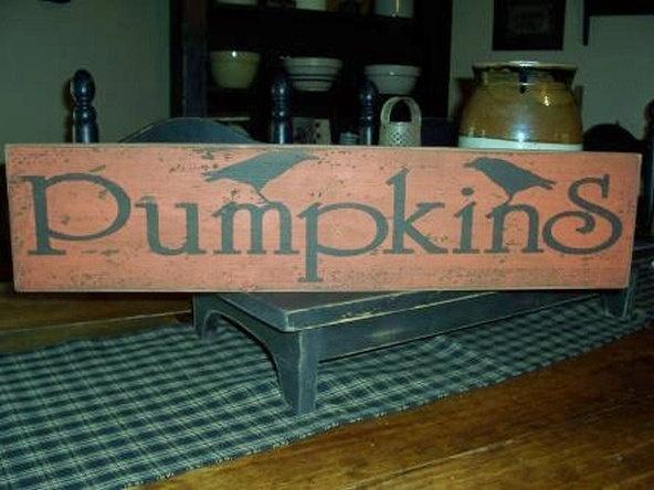 Pumpkin & Crow Primitive Handpainted Fall Sign. $14.99, via Etsy.