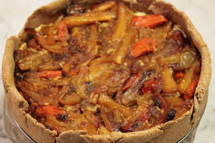 Honey Roasted Parsnip, Carrot and Shallot Tart