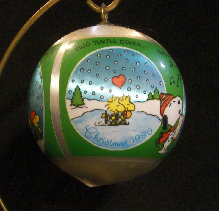 HALLMARK 1980 Vintage Peanuts Satin Ornament . Snoopy and Woodstock are Recreating 4 of the 12 Days of Christmas. Excellent Pre-Owned Condition! $18.88 obo (Free S&H)