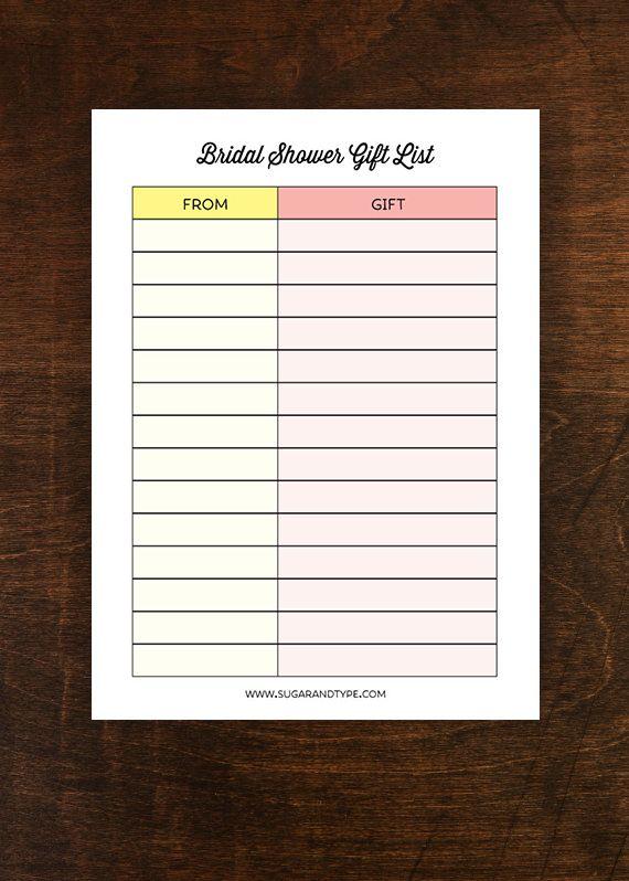 Wedding Gift List Printable : Bridal Shower Gift List printable