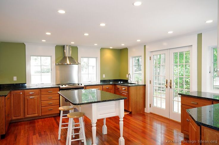 Olive green  white island  close to current kitchen cabinet color