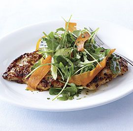 Honey-Mustard Turkey Cutlets with Arugula, Carrot, and Celery Salad