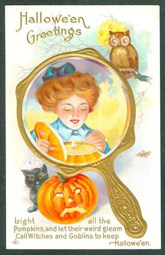 Vintage Embossed Stecher Halloween Postcard Lady In Gold Mirror JOL Cat Owl | eBay