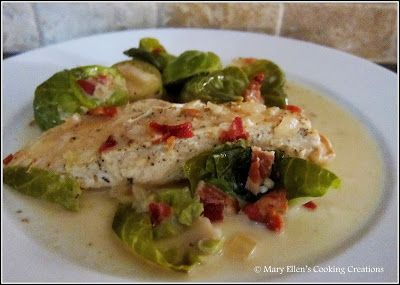 ... Braised Chicken and Brussels Sprouts in a Creamy Dijon Broth with