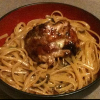 Chicken Saltimbocca over pasta with lemon and butter sauce