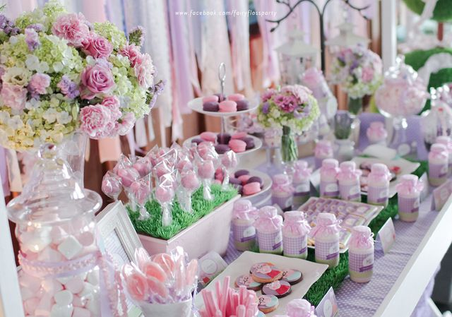 Beautiful lavender dessert table!