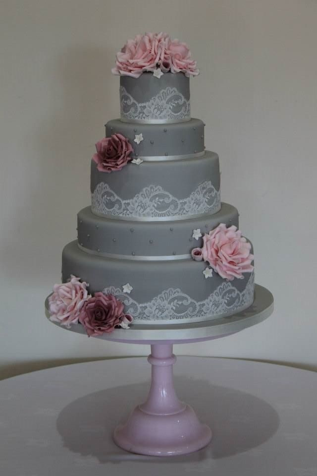 Grey Pink And Lace Vintage Wedding Cake