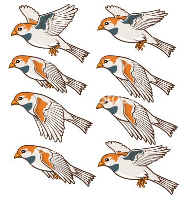 Flying sparrow animated - photo#3