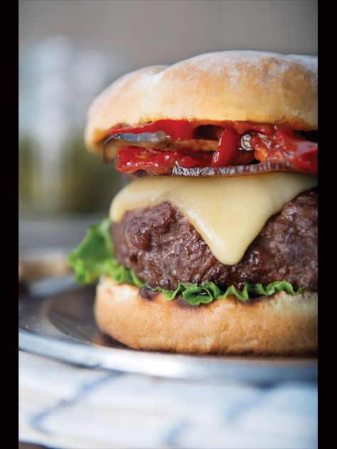 Beef burger with crispy pancetta, grilled king mushroom, fontina and ...