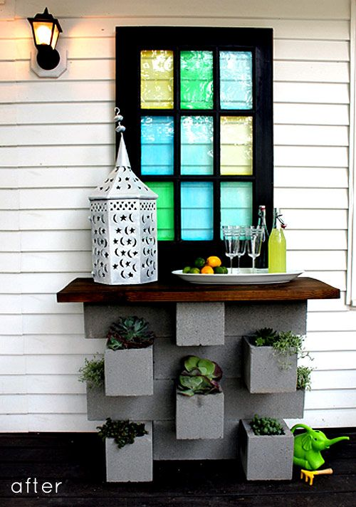 Buffet and planter in 1- love this reuse of a few cinder blocks and an old window