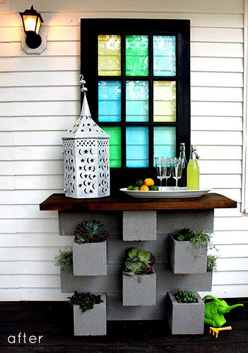 Cinder block planter/bar
