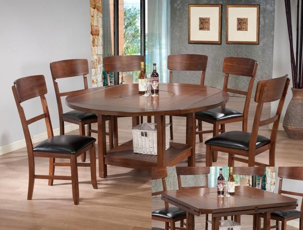 oak finish wood drop leaf dining table set with built in lazy susan