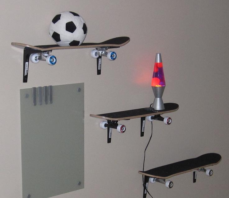 skateboard shelves bedroom ideas for lil 39 man pinterest. Black Bedroom Furniture Sets. Home Design Ideas