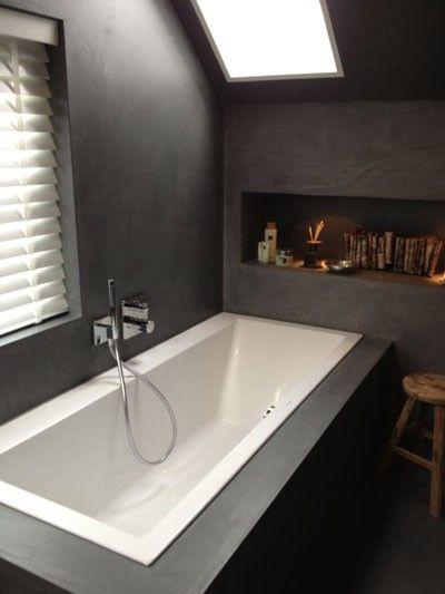 Zwarte betonlook badkamer.  badkamer  Pinterest