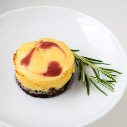... Mascarpone & Ricotta Cheesecakes on Chocolate with Raspberry Hearts