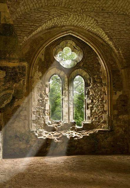 Sunbeams at Netley Abbey ruins, Southampton, England.