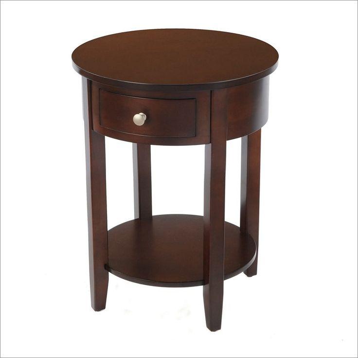 Dark brown round nightstand room ideas pinterest for Round nightstand tables