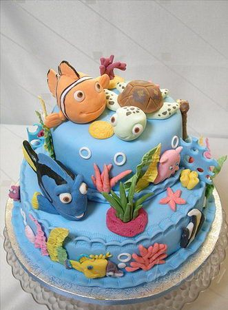 Nemo cake -- This site has SO many good cake and candy ideas for parties.