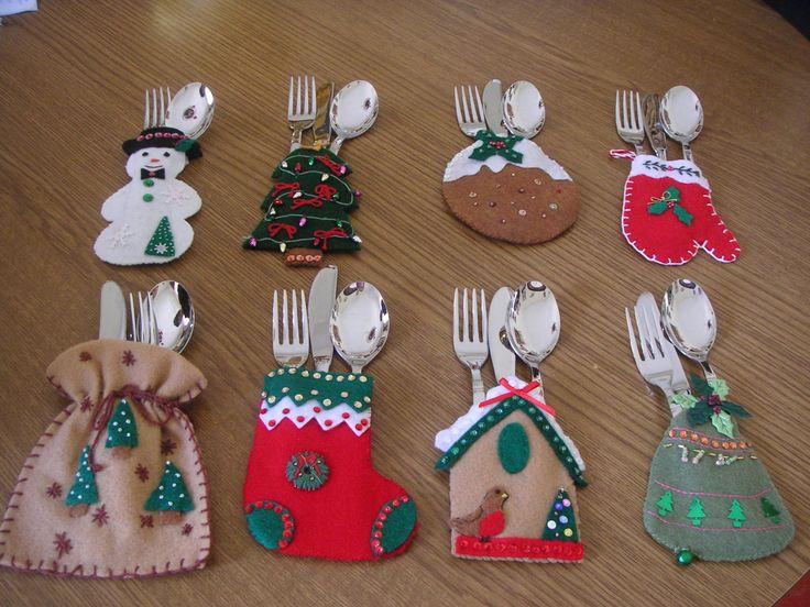 Patron porta cubiertos navide os fieltro o pa o lency - Detalles de navidad manualidades ...