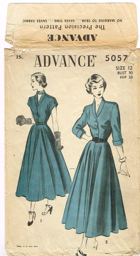 Original 1940's Shirtwaist Dress Pattern Size by FaithfulFabrics, $13.99