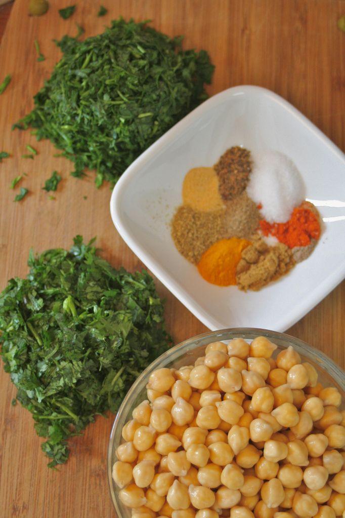 Falafel ingredients for baked falafel