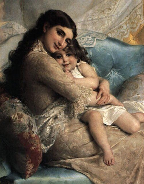 Emile Munier - Portrait of a Mother and Daughter
