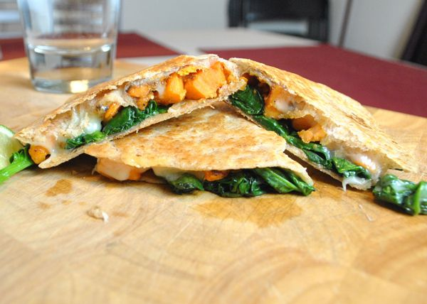"Sweet Potato and Spinach Quesadillas I'm Changing this to ""sweet ..."