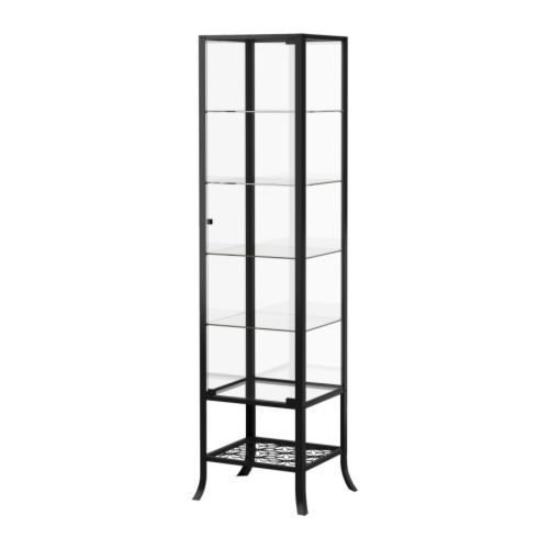 KLINGSBO Glass-door cabinet, black, clear glass $149.00 Article Number : 601.285.62 A glass-door cabinet displays and protects your glassware, favorite collectables, etc. Size 17 3/4x70 7/8""