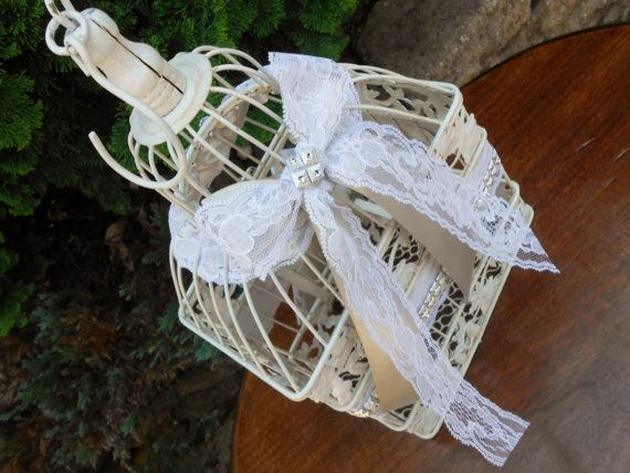 White Birdcage Wedding Gift Card Holder Wishing Well : Lace Wedding Birdcage Card Holder Set / Wishing Well / Wedding Card B ...