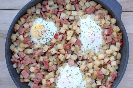 Ham and Potatoes Saute with Baked Eggs