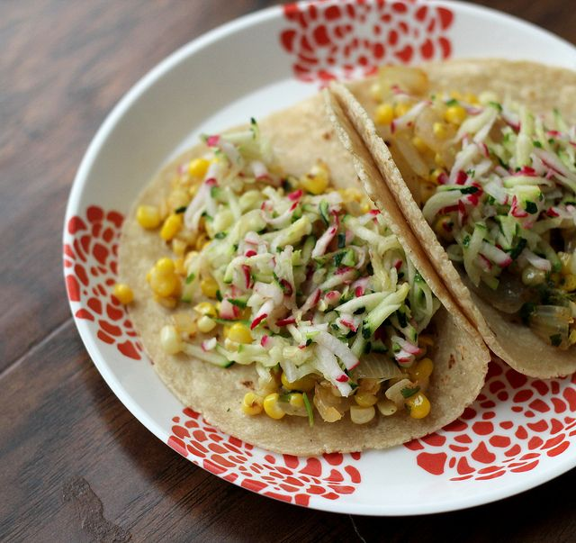 Charred Corn Tacos With Zucchini-radish Slaw Recipes — Dishmaps