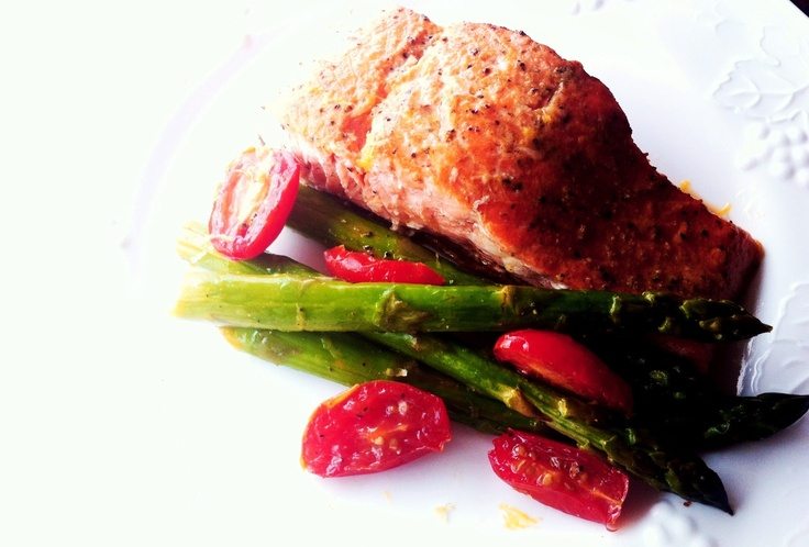 Pan Seared Salmon with Lemon Asparagus and Roasted Tomatoes